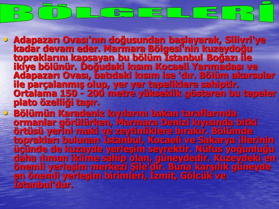 Adapazarı Ovası'nın doğusundan başlayarak, Silivri'ye kadar devam eder. Marmara Bölgesi'nin kuzeydoğu topraklarını kapsayan bu bölüm İstanbul Boğazı i