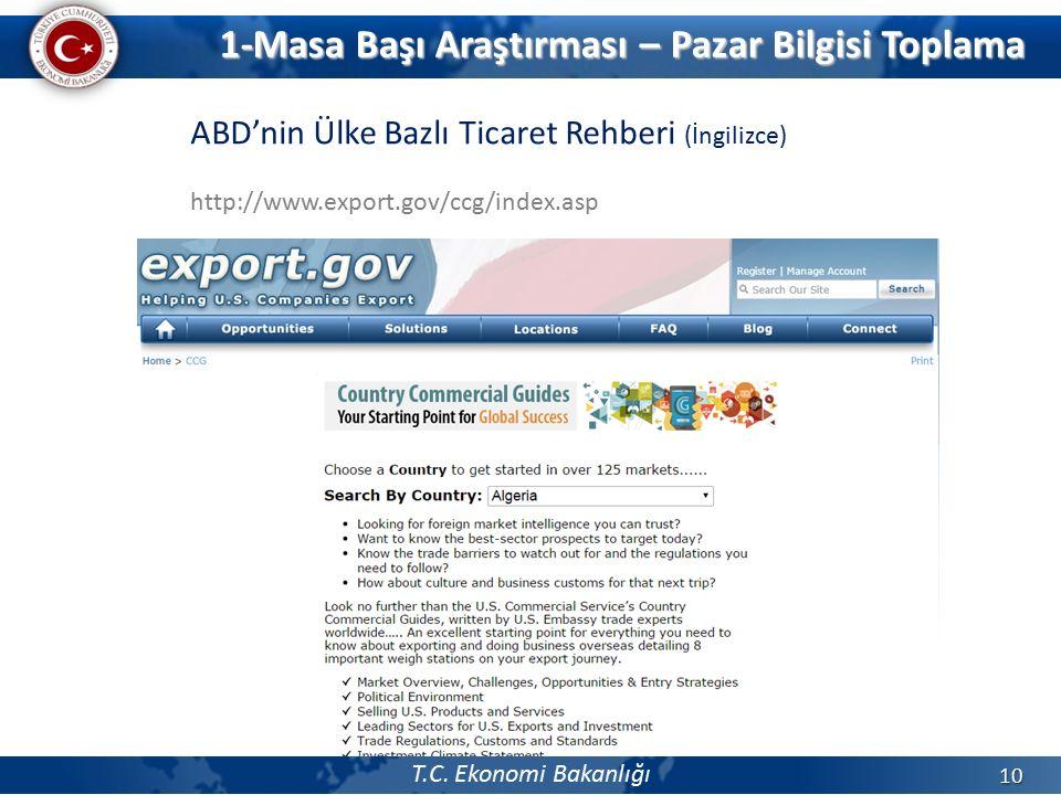 T.C. Ekonomi Bakanlığı 10 ABD'nin Ülke Bazlı Ticaret Rehberi (İngilizce) http://www.export.gov/ccg/index.asp 1-Masa Başı Araştırması – Pazar Bilgisi T