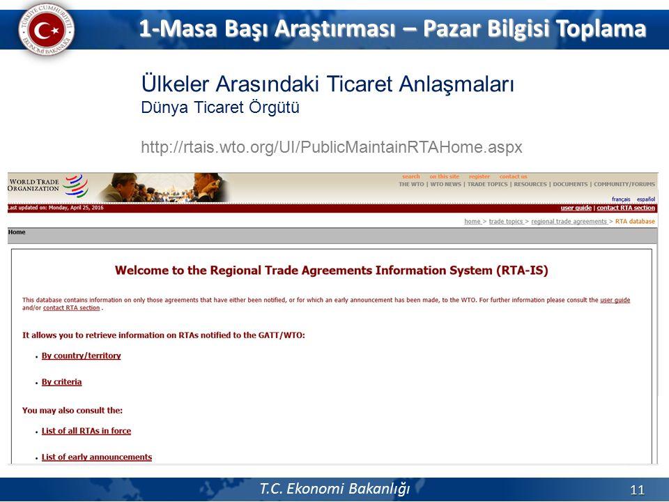 T.C. Ekonomi Bakanlığı 11 Ülkeler Arasındaki Ticaret Anlaşmaları Dünya Ticaret Örgütü http://rtais.wto.org/UI/PublicMaintainRTAHome.aspx 1-Masa Başı A