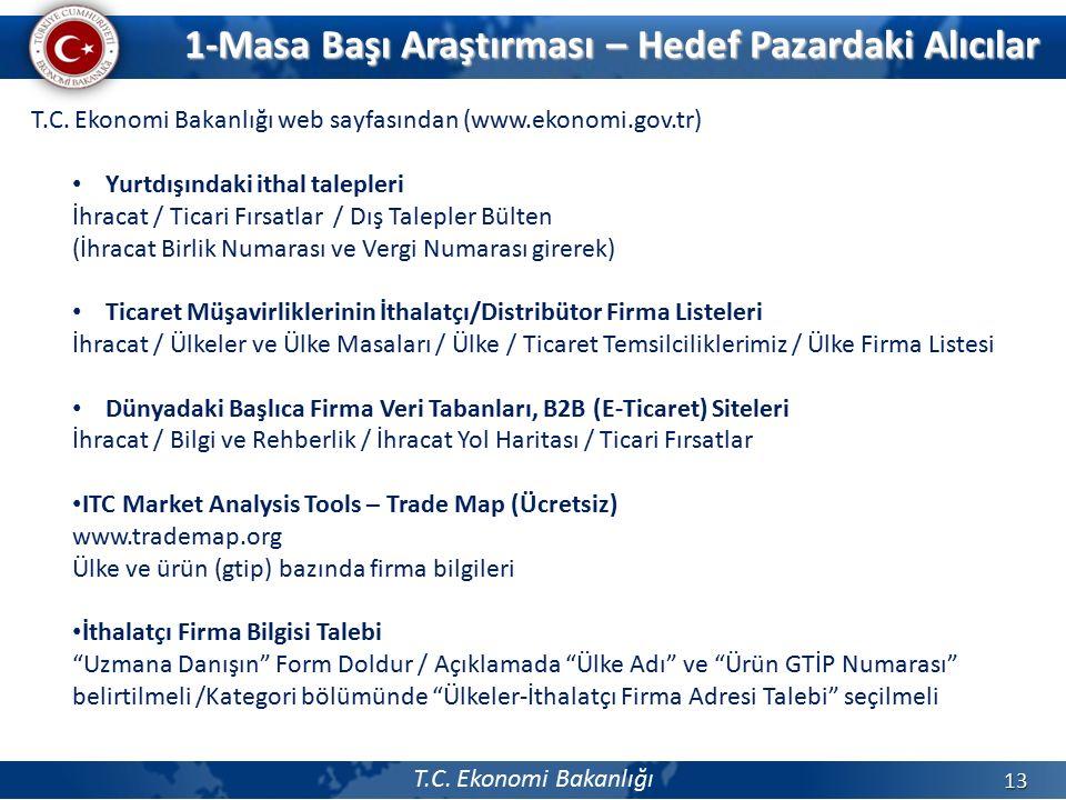 T.C. Ekonomi Bakanlığı 13 T.C. Ekonomi Bakanlığı web sayfasından (www.ekonomi.gov.tr) Yurtdışındaki ithal talepleri İhracat / Ticari Fırsatlar / Dış T