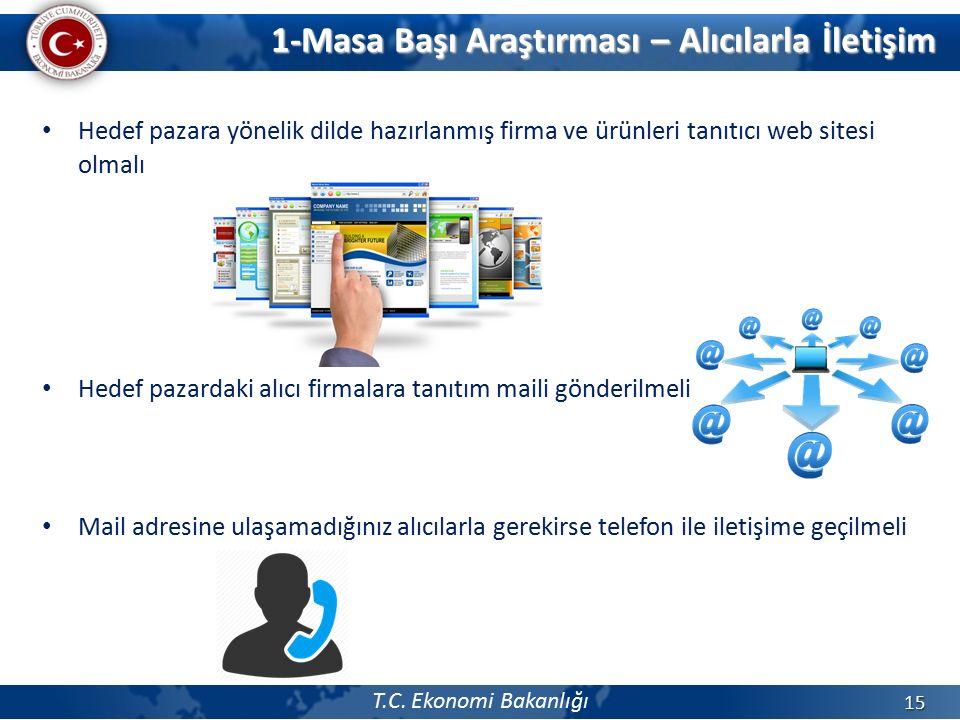 T.C. Ekonomi Bakanlığı Hedef pazara yönelik dilde hazırlanmış firma ve ürünleri tanıtıcı web sitesi olmalı Hedef pazardaki alıcı firmalara tanıtım mai