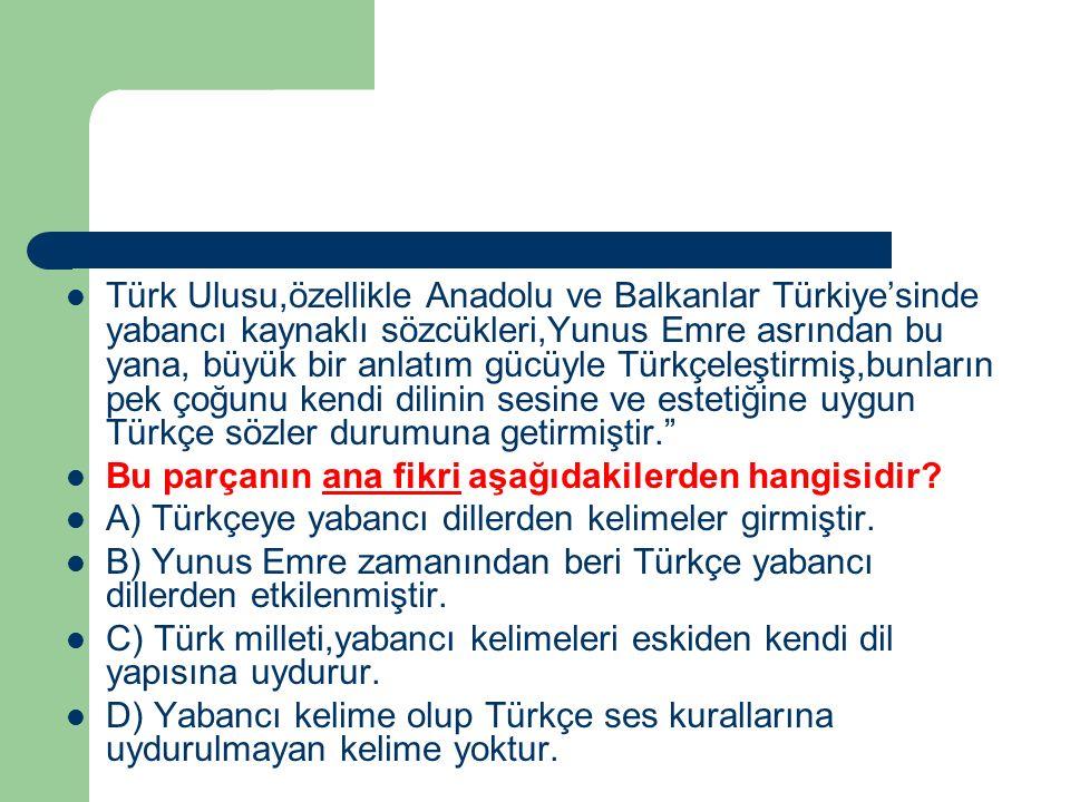 Türk Ulusu,özellikle Anadolu ve Balkanlar Türkiye'sinde yabancı kaynaklı sözcükleri,Yunus Emre asrından bu yana, büyük bir anlatım gücüyle Türkçeleşti