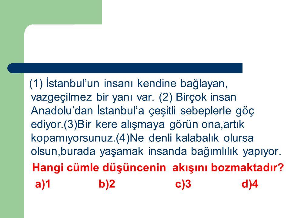 (1) İstanbul'un insanı kendine bağlayan, vazgeçilmez bir yanı var. (2) Birçok insan Anadolu'dan İstanbul'a çeşitli sebeplerle göç ediyor.(3)Bir kere a