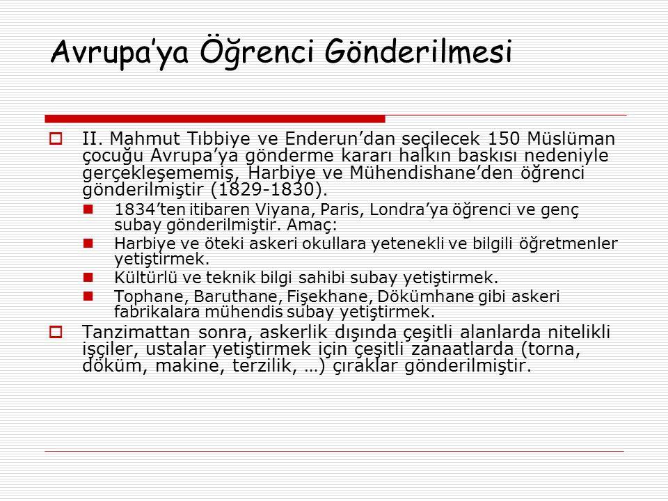 Avrupa'ya Öğrenci Gönderilmesi  II. Mahmut Tıbbiye ve Enderun'dan seçilecek 150 Müslüman çocuğu Avrupa'ya gönderme kararı halkın baskısı nedeniyle ge