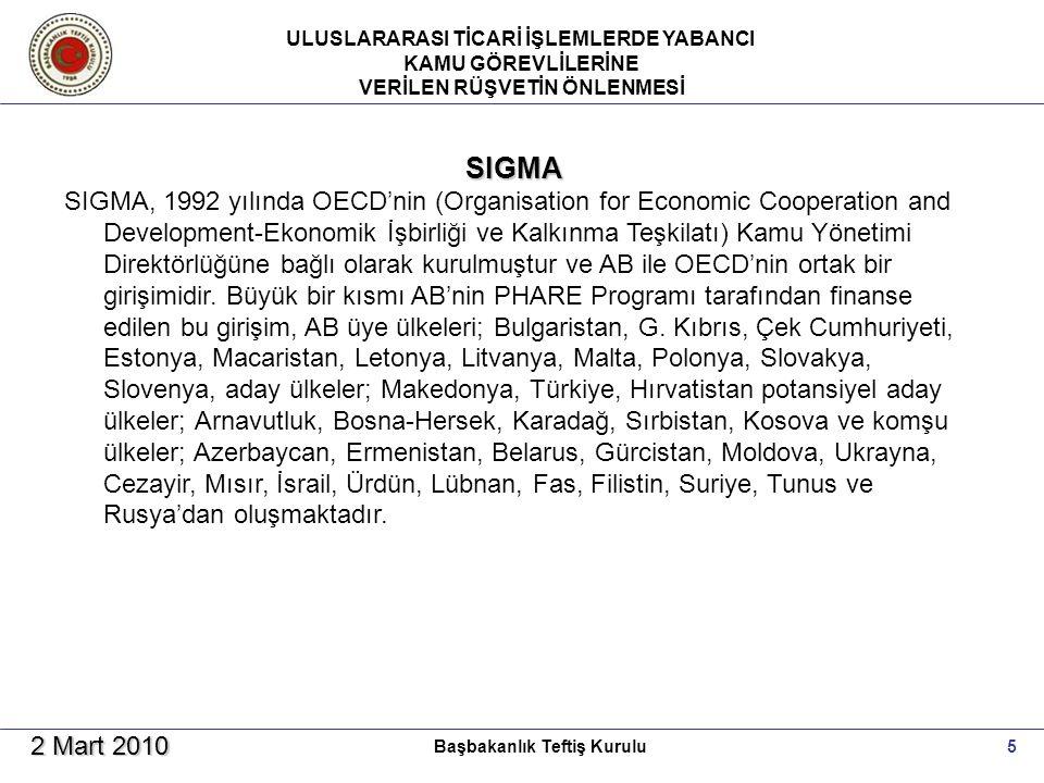 ULUSLARARASI TİCARİ İŞLEMLERDE YABANCI KAMU GÖREVLİLERİNE VERİLEN RÜŞVETİN ÖNLENMESİ 5Başbakanlık Teftiş Kurulu 2 Mart 2010 SIGMA SIGMA, 1992 yılında OECD'nin (Organisation for Economic Cooperation and Development-Ekonomik İşbirliği ve Kalkınma Teşkilatı) Kamu Yönetimi Direktörlüğüne bağlı olarak kurulmuştur ve AB ile OECD'nin ortak bir girişimidir.