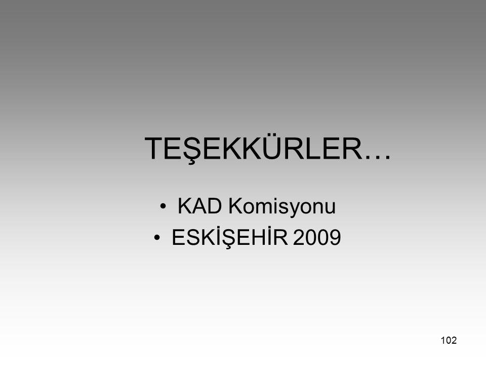 102 TEŞEKKÜRLER… KAD Komisyonu ESKİŞEHİR 2009