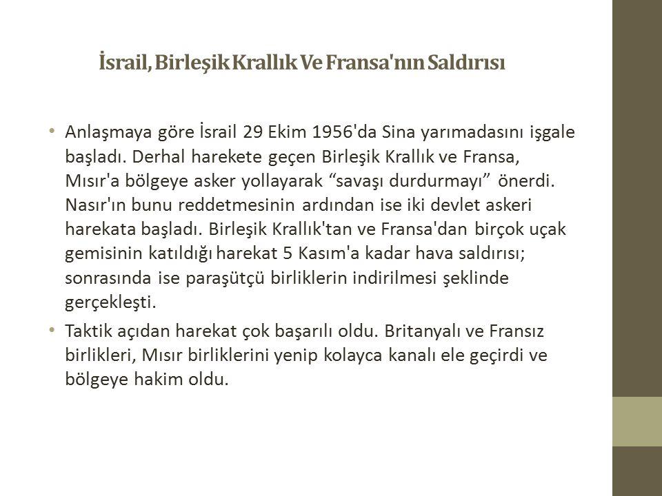 İsrail, Birleşik Krallık Ve Fransa'nın Saldırısı Anlaşmaya göre İsrail 29 Ekim 1956'da Sina yarımadasını işgale başladı. Derhal harekete geçen Birleşi