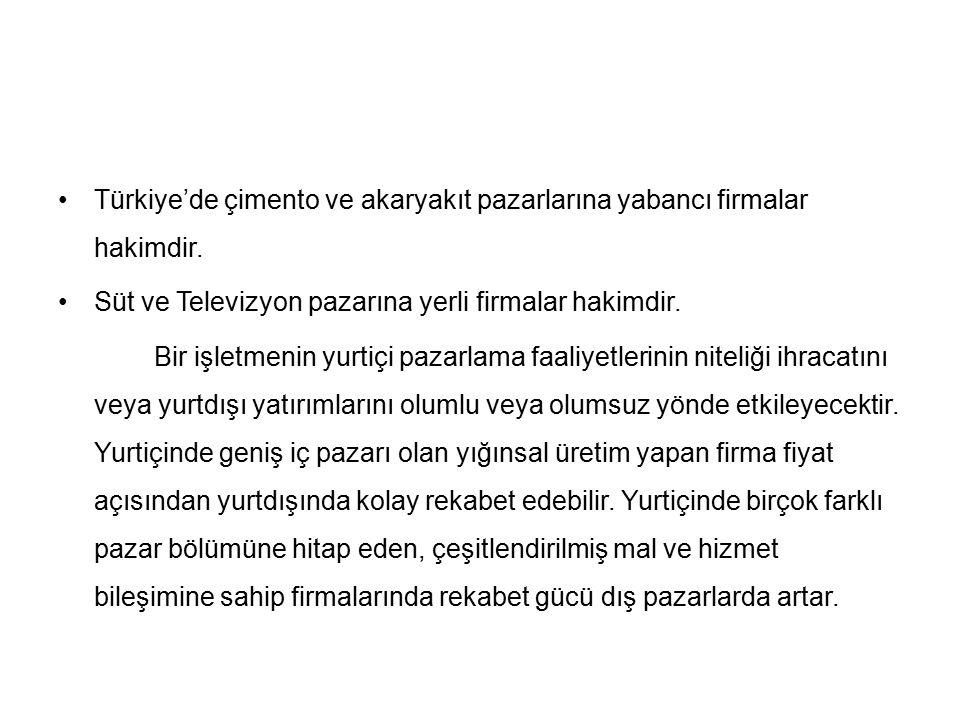 Türkiye'de çimento ve akaryakıt pazarlarına yabancı firmalar hakimdir.
