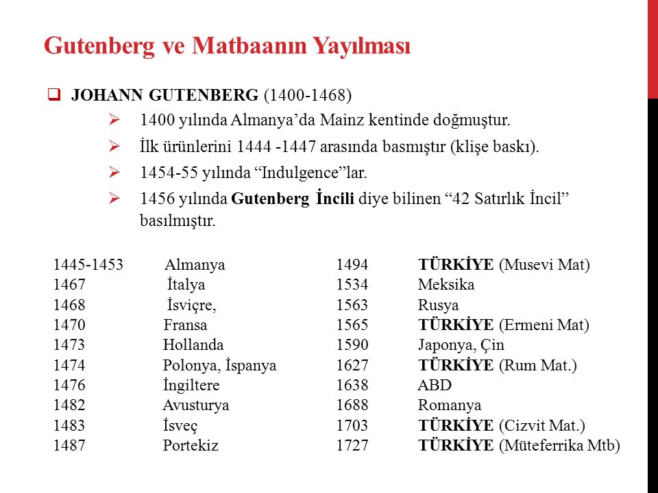 Gutenberg ve Matbaanın Yayılması  JOHANN GUTENBERG (1400-1468)  1400 yılında Almanya'da Mainz kentinde doğmuştur.