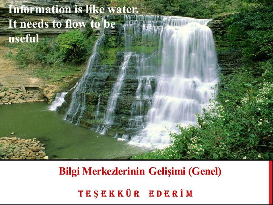 T E Ş E K K Ü R E D E R İ M Bilgi Merkezlerinin Gelişimi (Genel) Information is like water.
