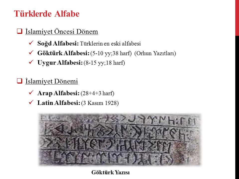 Türklerde Alfabe  İslamiyet Öncesi Dönem Soğd Alfabesi: Türklerin en eski alfabesi Göktürk Alfabesi: (5-10 yy;38 harf) (Orhun Yazıtları) Uygur Alfabesi: (8-15 yy;18 harf)  İslamiyet Dönemi Arap Alfabesi: (28+4+3 harf) Latin Alfabesi: (3 Kasım 1928) Göktürk Yazısı