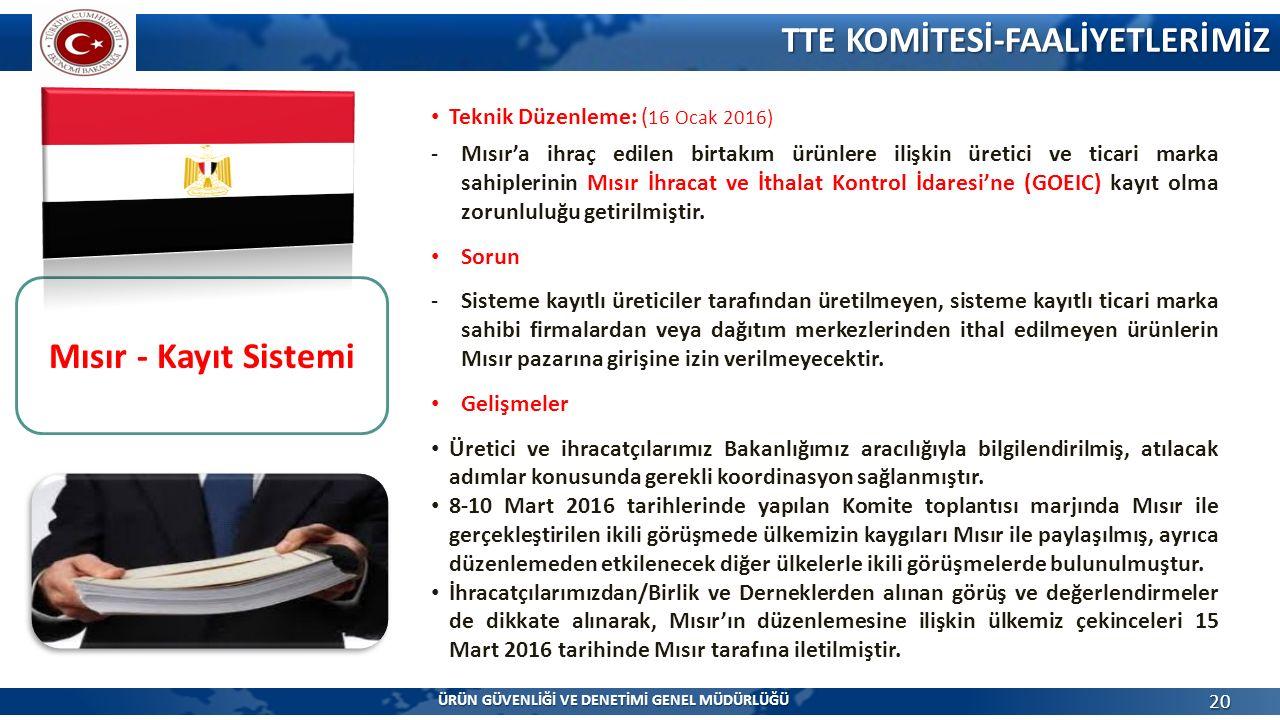 TTE KOMİTESİ-FAALİYETLERİMİZ 20 Mısır - Kayıt Sistemi Suudi Arabistan Klima Mevzuatı Teknik Düzenleme: ( 16 Ocak 2016) -Mısır'a ihraç edilen birtakım ürünlere ilişkin üretici ve ticari marka sahiplerinin Mısır İhracat ve İthalat Kontrol İdaresi'ne (GOEIC) kayıt olma zorunluluğu getirilmiştir.
