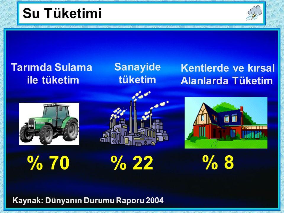 % 70% 22 % 8 Tarımda Sulama ile tüketim Sanayide tüketim Kentlerde ve kırsal Alanlarda Tüketim Su Tüketimi Kaynak: Dünyanın Durumu Raporu 2004