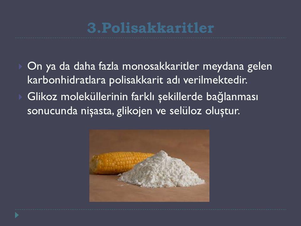 3.Polisakkaritler  On ya da daha fazla monosakkaritler meydana gelen karbonhidratlara polisakkarit adı verilmektedir.