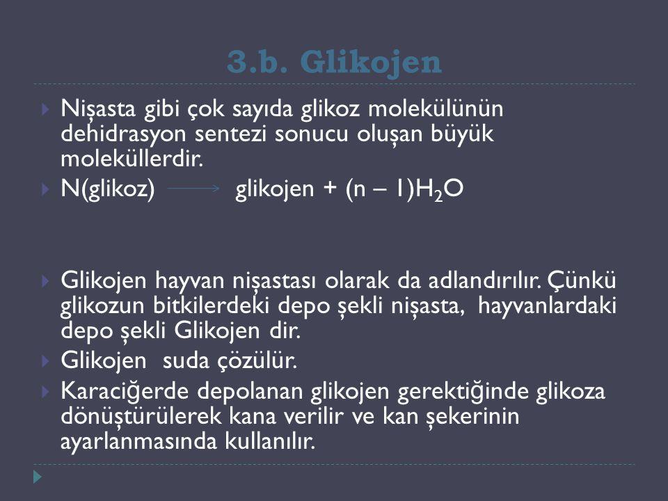 3.b. Glikojen  Nişasta gibi çok sayıda glikoz molekülünün dehidrasyon sentezi sonucu oluşan büyük moleküllerdir.  N(glikoz) glikojen + (n – 1)H 2 O