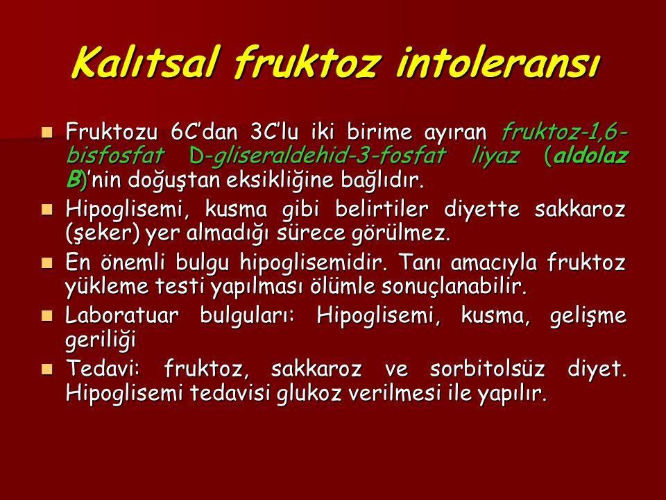 Kalıtsal fruktoz intoleransı Fruktozu 6C'dan 3C'lu iki birime ayıran fruktoz-1,6- bisfosfat D-gliseraldehid-3-fosfat liyaz (aldolaz B)'nin doğuştan eksikliğine bağlıdır.
