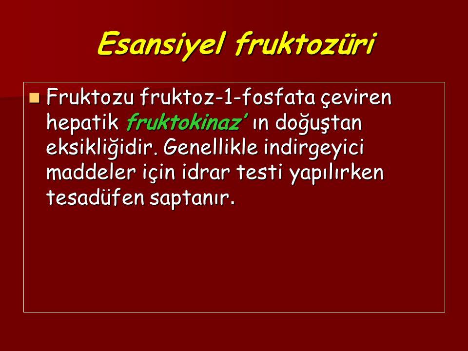 Esansiyel fruktozüri Fruktozu fruktoz-1-fosfata çeviren hepatik fruktokinaz' ın doğuştan eksikliğidir. Genellikle indirgeyici maddeler için idrar test