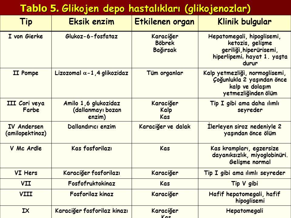 Tablo 5. Glikojen depo hastalıkları (glikojenozlar) TipEksik enzimEtkilenen organKlinik bulgular I von GierkeGlukoz-6-fosfatazKaraciğer Böbrek Bağırsa