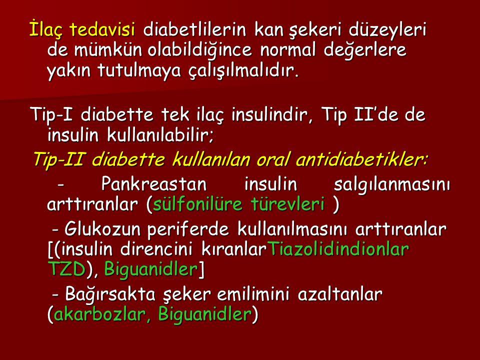 İlaç tedavisi diabetlilerin kan şekeri düzeyleri de mümkün olabildiğince normal değerlere yakın tutulmaya çalışılmalıdır. Tip-I diabette tek ilaç insu