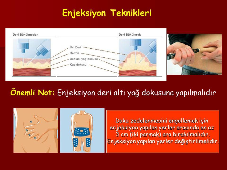 Önemli Not: Enjeksiyon deri altı yağ dokusuna yapılmalıdır Enjeksiyon Teknikleri Doku zedelenmesini engellemek için enjeksiyon yapılan yerler arasında en az 3 cm (iki parmak) ara bırakılmalıdır.