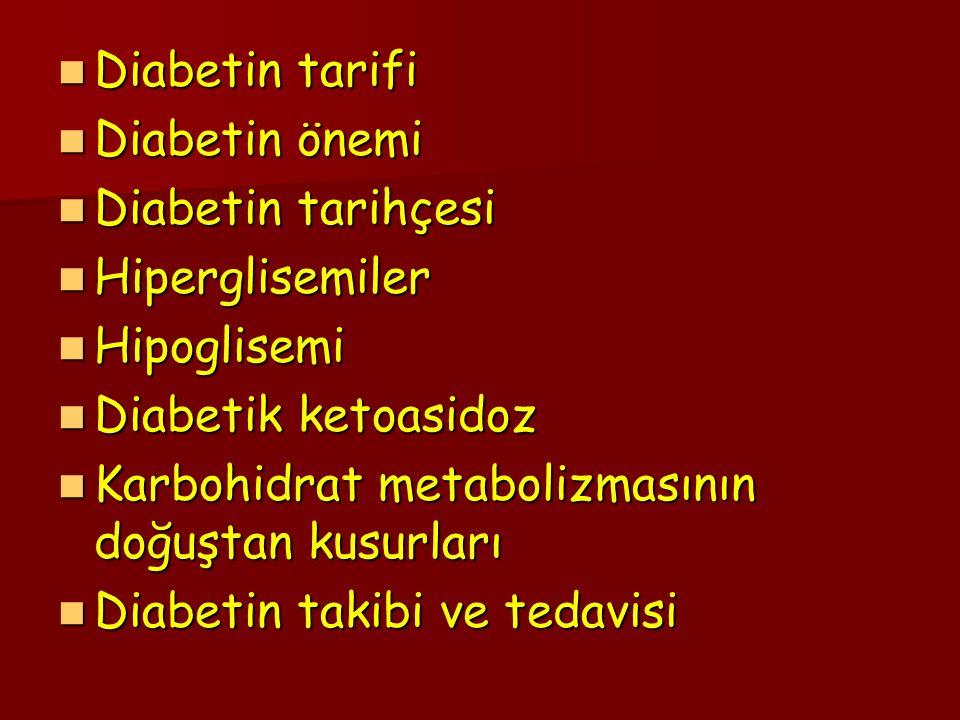 Diabetin tarifi Diabetin tarifi Diabetin önemi Diabetin önemi Diabetin tarihçesi Diabetin tarihçesi Hiperglisemiler Hiperglisemiler Hipoglisemi Hipogl