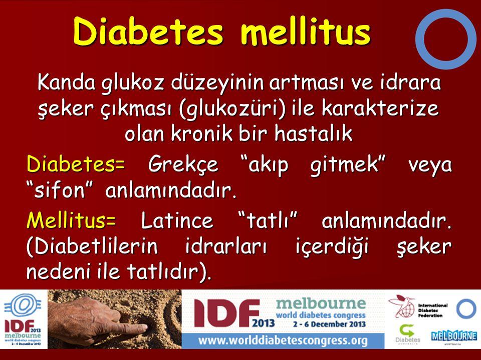 Diabetes mellitus Kanda glukoz düzeyinin artması ve idrara şeker çıkması (glukozüri) ile karakterize olan kronik bir hastalık Diabetes= Grekçe akıp gitmek veya sifon anlamındadır.