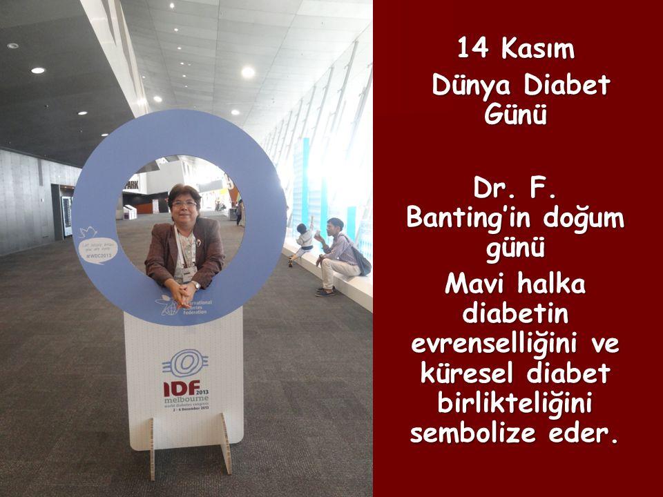 14 Kasım Dünya Diabet Günü Dünya Diabet Günü Dr. F. Banting'in doğum günü Mavi halka diabetin evrenselliğini ve küresel diabet birlikteliğini semboliz