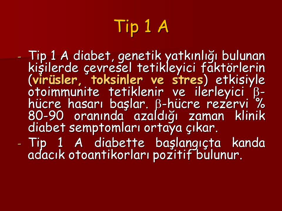 Tip 1 A - Tip 1 A diabet, genetik yatkınlığı bulunan kişilerde çevresel tetikleyici faktörlerin (virüsler, toksinler ve stres) etkisiyle otoimmunite tetiklenir ve ilerleyici  - hücre hasarı başlar.
