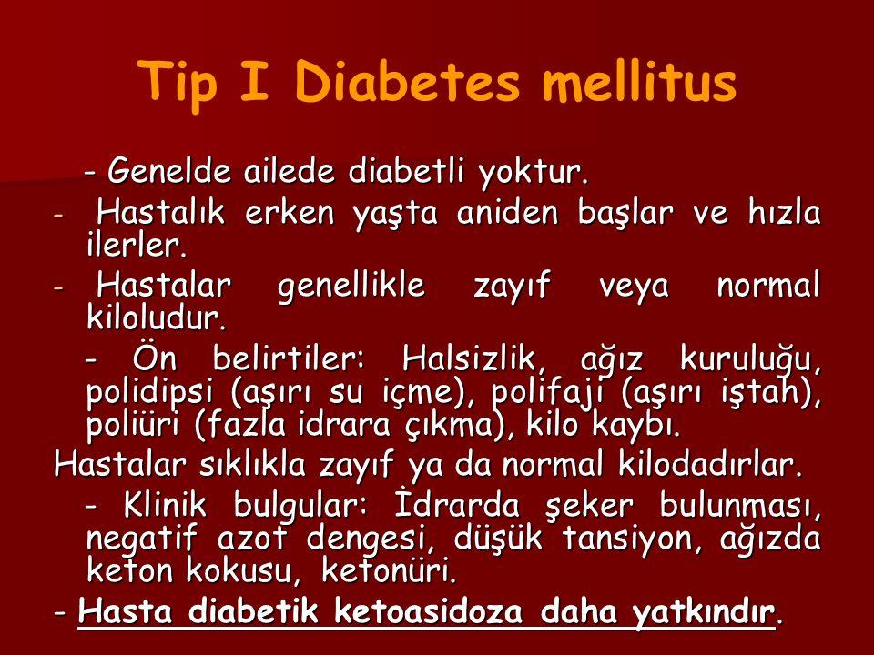 - Genelde ailede diabetli yoktur. - Genelde ailede diabetli yoktur. - Hastalık erken yaşta aniden başlar ve hızla ilerler. - Hastalar genellikle zayıf