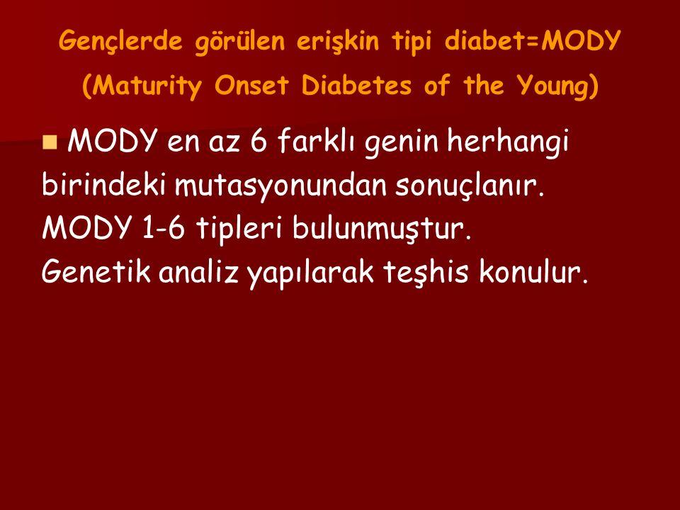 Gençlerde görülen erişkin tipi diabet=MODY (Maturity Onset Diabetes of the Young) MODY en az 6 farklı genin herhangi birindeki mutasyonundan sonuçlanır.