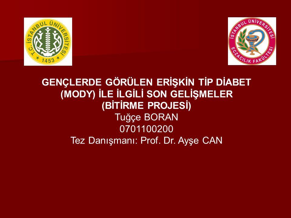 GENÇLERDE GÖRÜLEN ERİŞKİN TİP DİABET (MODY) İLE İLGİLİ SON GELİŞMELER (BİTİRME PROJESİ) Tuğçe BORAN 0701100200 Tez Danışmanı: Prof. Dr. Ayşe CAN
