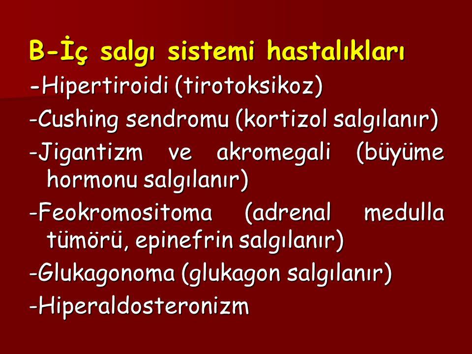 B-İç salgı sistemi hastalıkları - Hipertiroidi (tirotoksikoz) -Cushing sendromu (kortizol salgılanır) -Jigantizm ve akromegali (büyüme hormonu salgıla