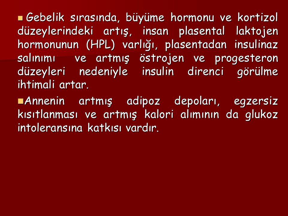 Gebelik sırasında, büyüme hormonu ve kortizol düzeylerindeki artış, insan plasental laktojen hormonunun (HPL) varlığı, plasentadan insulinaz salınımı