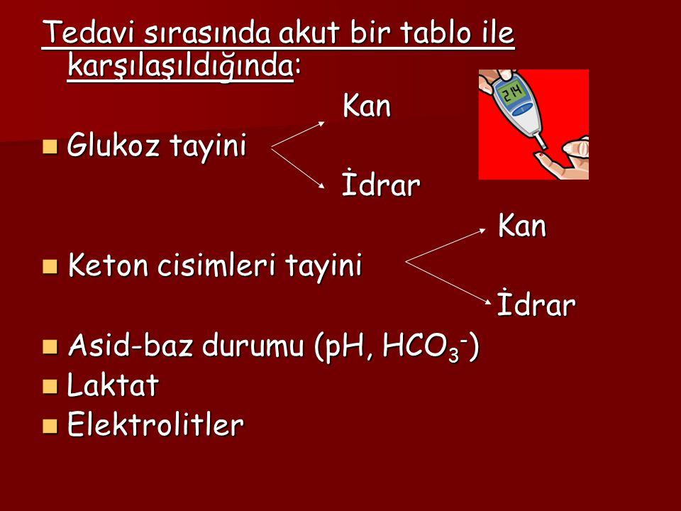 Tedavi sırasında akut bir tablo ile karşılaşıldığında: Kan Kan Glukoz tayini Glukoz tayini İdrar İdrar Kan Kan Keton cisimleri tayini Keton cisimleri tayini İdrar İdrar Asid-baz durumu (pH, HCO 3 - ) Asid-baz durumu (pH, HCO 3 - ) Laktat Laktat Elektrolitler Elektrolitler