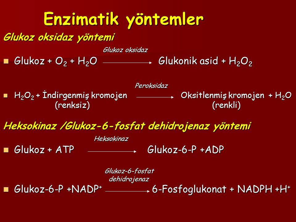 Enzimatik yöntemler Glukoz oksidaz yöntemi Glukoz oksidaz Glukoz oksidaz Glukoz + O 2 + H 2 O Glukonik asid + H 2 O 2 Glukoz + O 2 + H 2 O Glukonik asid + H 2 O 2 Peroksidaz Peroksidaz H 2 O 2 + İndirgenmiş kromojen Oksitlenmiş kromojen + H 2 O H 2 O 2 + İndirgenmiş kromojen Oksitlenmiş kromojen + H 2 O (renksiz) (renkli) (renksiz) (renkli) Heksokinaz /Glukoz-6-fosfat dehidrojenaz yöntemi Heksokinaz Heksokinaz Glukoz + ATP Glukoz-6-P +ADP Glukoz + ATP Glukoz-6-P +ADP Glukoz-6-fosfat Glukoz-6-fosfat dehidrojenaz dehidrojenaz Glukoz-6-P +NADP + 6-Fosfoglukonat + NADPH +H + Glukoz-6-P +NADP + 6-Fosfoglukonat + NADPH +H +