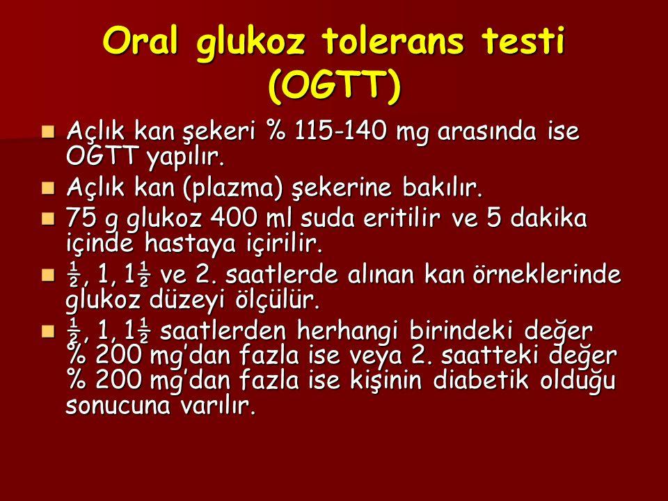 Oral glukoz tolerans testi (OGTT) Açlık kan şekeri % 115-140 mg arasında ise OGTT yapılır. Açlık kan şekeri % 115-140 mg arasında ise OGTT yapılır. Aç