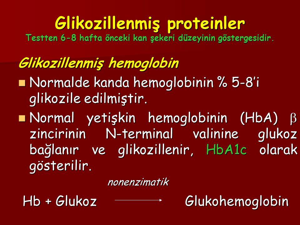 Glikozillenmiş proteinler Testten 6-8 hafta önceki kan şekeri düzeyinin göstergesidir. Glikozillenmiş hemoglobin Normalde kanda hemoglobinin % 5-8'i g