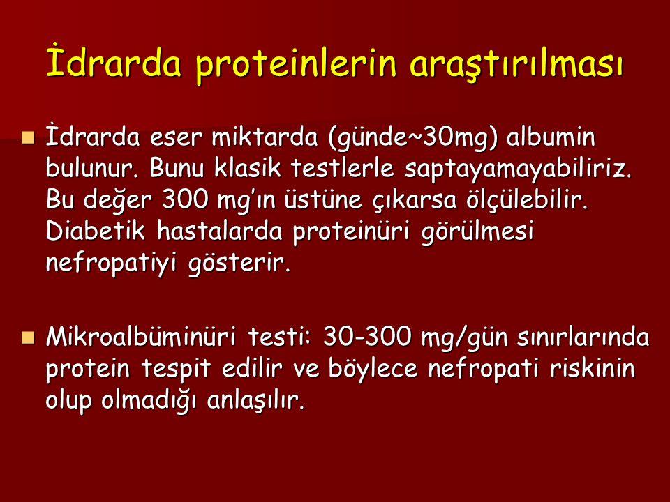 İdrarda proteinlerin araştırılması İdrarda eser miktarda (günde~30mg) albumin bulunur. Bunu klasik testlerle saptayamayabiliriz. Bu değer 300 mg'ın üs