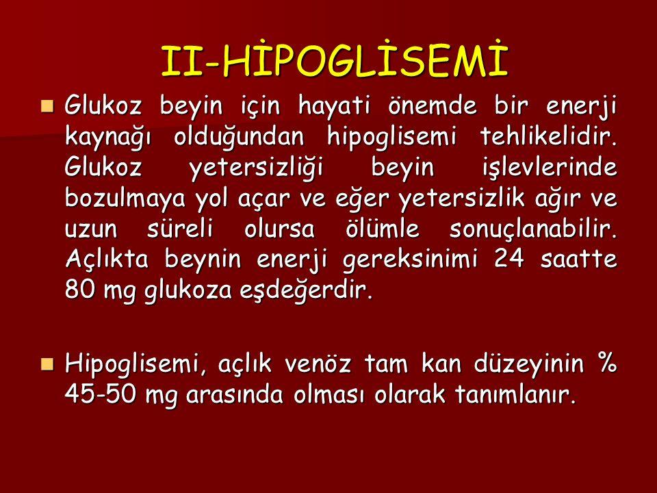 II-HİPOGLİSEMİ II-HİPOGLİSEMİ Glukoz beyin için hayati önemde bir enerji kaynağı olduğundan hipoglisemi tehlikelidir.