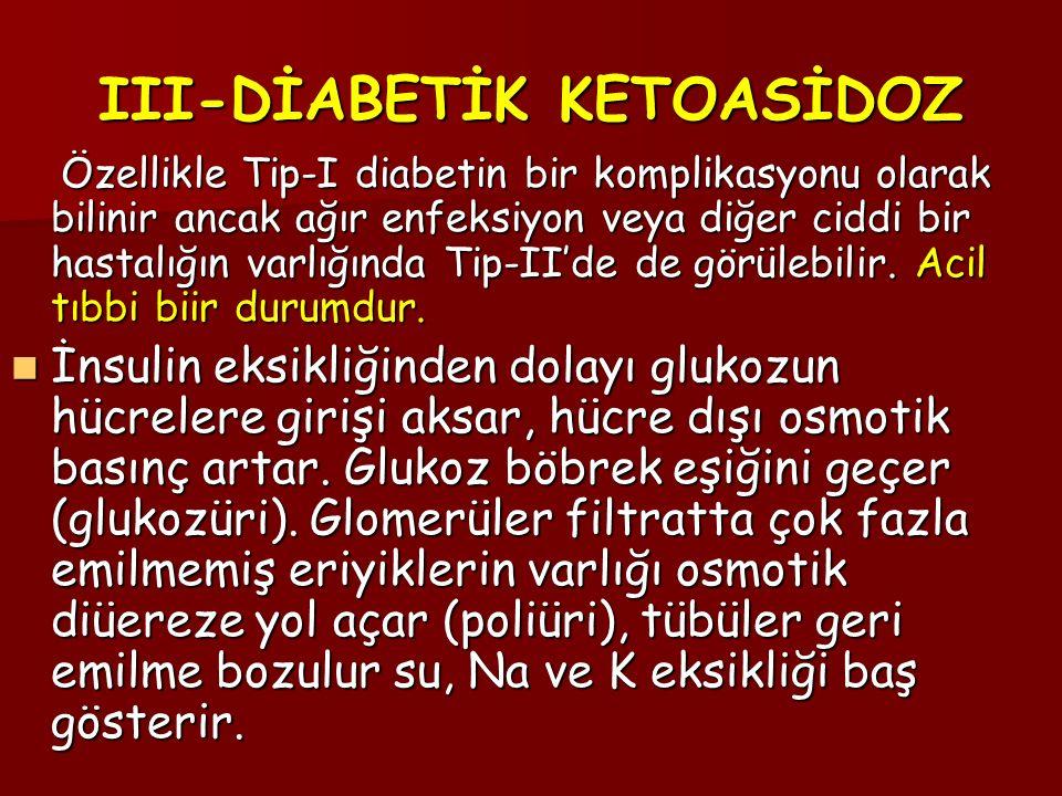 III-DİABETİK KETOASİDOZ Özellikle Tip-I diabetin bir komplikasyonu olarak bilinir ancak ağır enfeksiyon veya diğer ciddi bir hastalığın varlığında Tip-II'de de görülebilir.