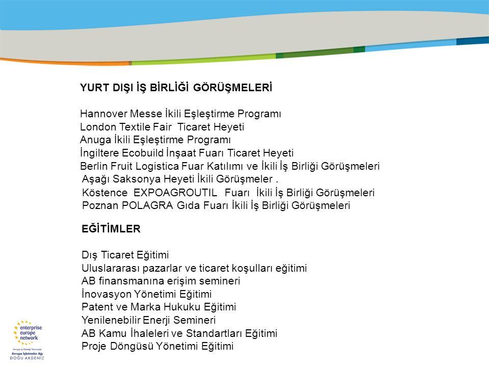 Title of the presentation | Date |‹#› YURT DIŞI İŞ BİRLİĞİ GÖRÜŞMELERİ Hannover Messe İkili Eşleştirme Programı London Textile Fair Ticaret Heyeti Anu