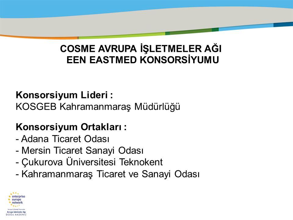 Title of the presentation | Date |‹#› EEN EASTMED KONSORSİYUMU Konsorsiyum Lideri : KOSGEB Kahramanmaraş Müdürlüğü Konsorsiyum Ortakları : - Adana Tic
