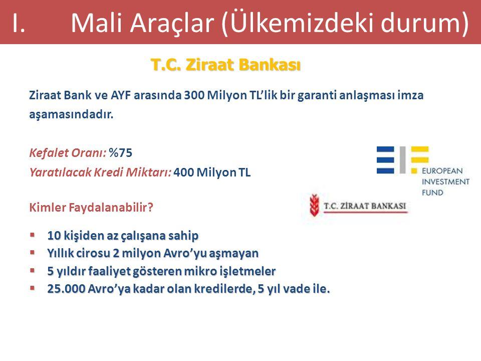 Ziraat Bank ve AYF arasında 300 Milyon TL'lik bir garanti anlaşması imza aşamasındadır. Kefalet Oranı: %75 Yaratılacak Kredi Miktarı: 400 Milyon TL Ki