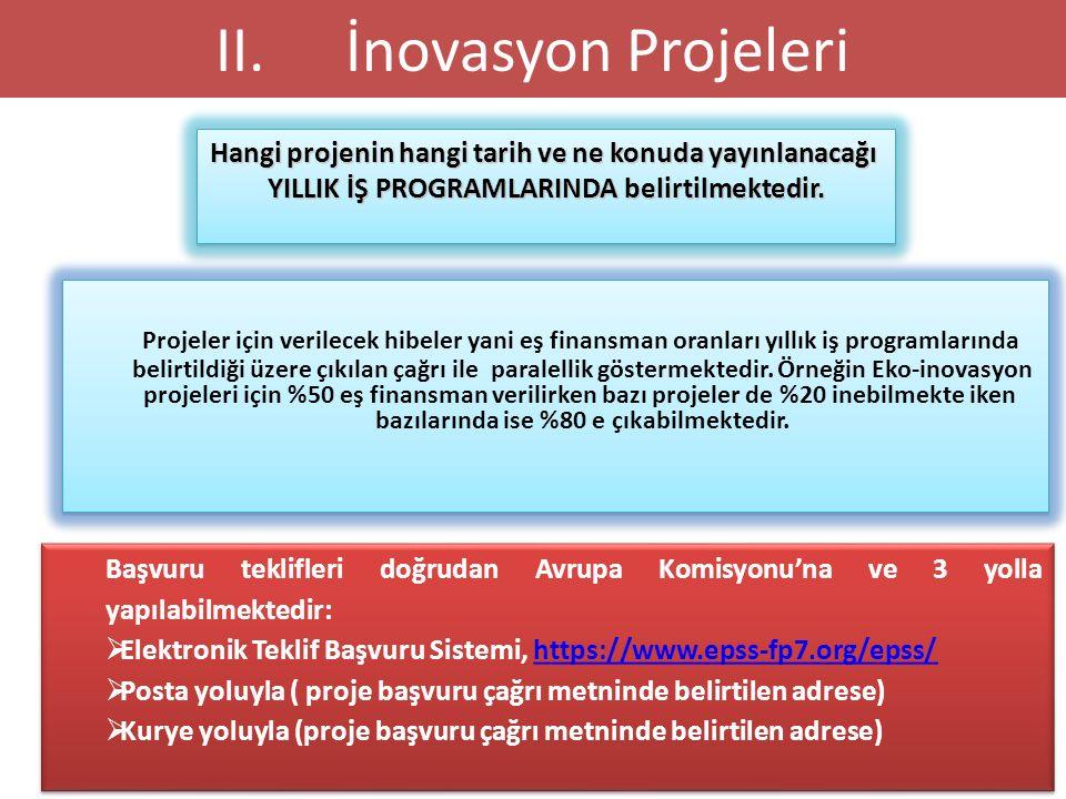 İNOVASYON PROJE BAŞVURULARI 23 Hangi projenin hangi tarih ve ne konuda yayınlanacağı YILLIK İŞ PROGRAMLARINDA belirtilmektedir. Hangi projenin hangi t