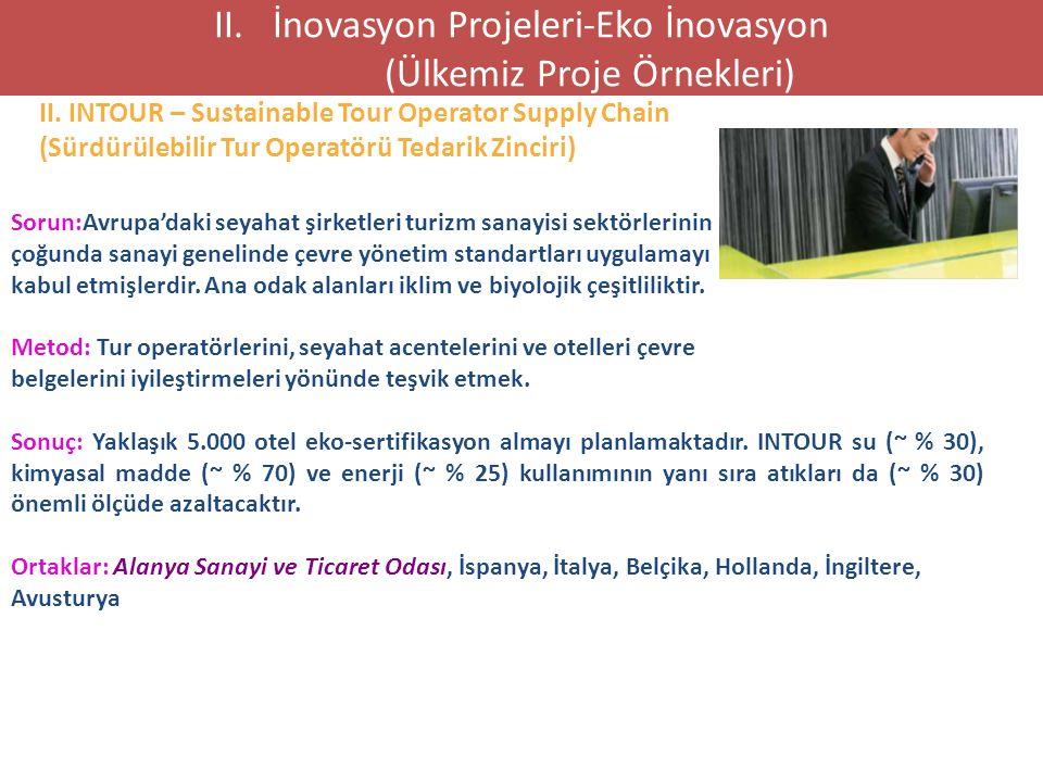 II. INTOUR – Sustainable Tour Operator Supply Chain (Sürdürülebilir Tur Operatörü Tedarik Zinciri) II. İnovasyon Projeleri-Eko İnovasyon (Ülkemiz Proj