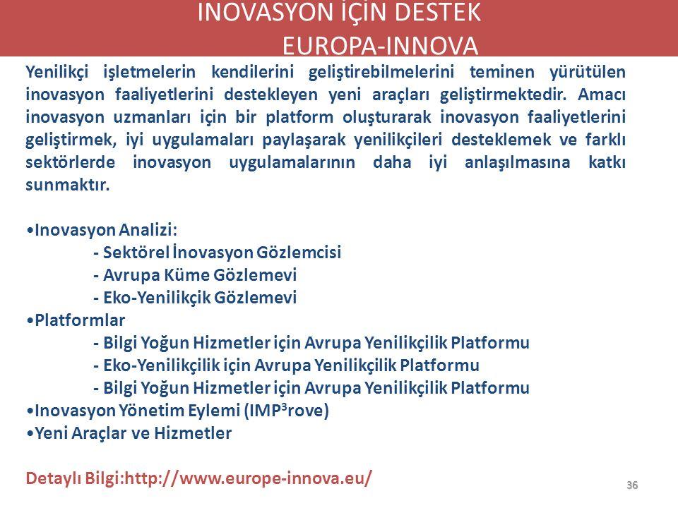 36 TÜRKİYE'DE İŞ ve YENİLİK DESTEK AĞLARI Yenilikçi işletmelerin kendilerini geliştirebilmelerini teminen yürütülen inovasyon faaliyetlerini destekley