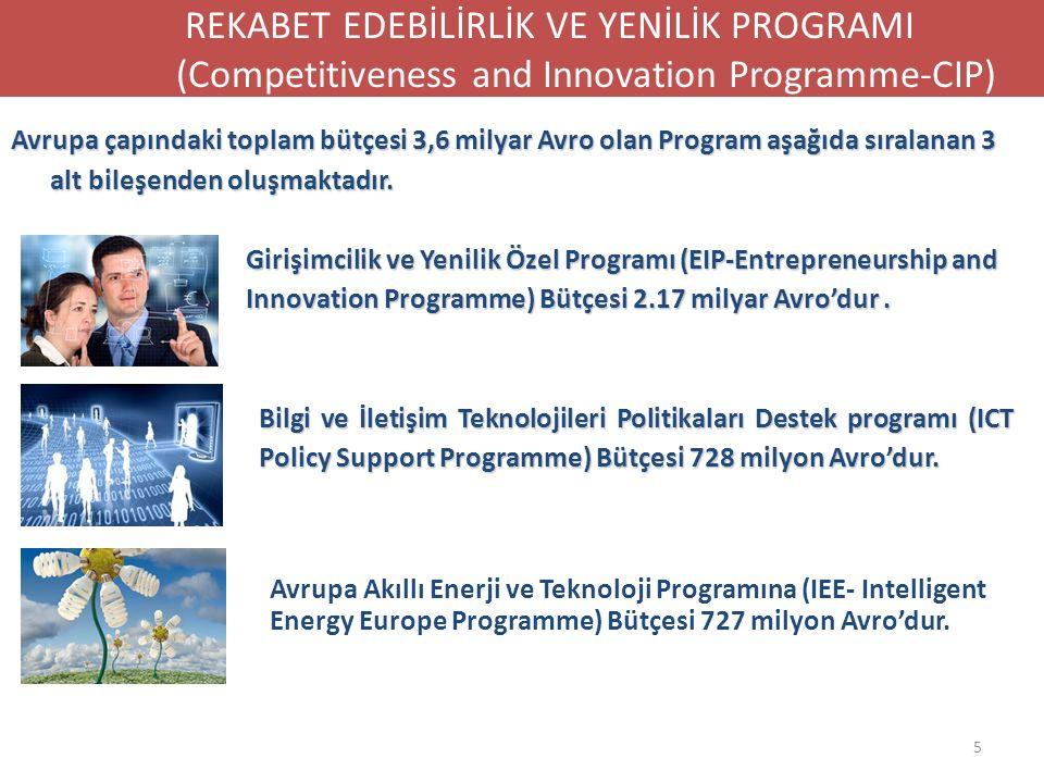 Avrupa çapındaki toplam bütçesi 3,6 milyar Avro olan Program aşağıda sıralanan 3 alt bileşenden oluşmaktadır. Girişimcilik ve Yenilik Özel Programı (E