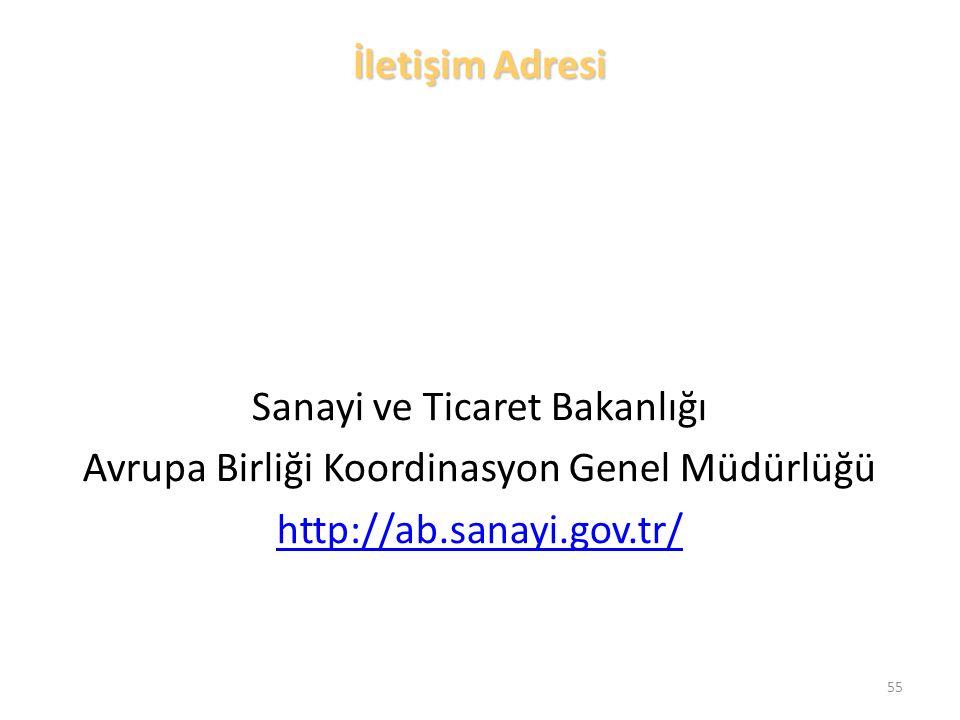 İletişim Adresi Sanayi ve Ticaret Bakanlığı Avrupa Birliği Koordinasyon Genel Müdürlüğü http://ab.sanayi.gov.tr/ 55