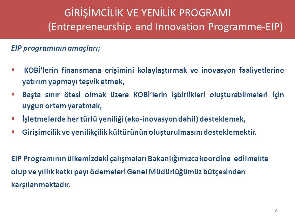 EIP programının amaçları;  KOBİ'lerin finansmana erişimini kolaylaştırmak ve inovasyon faaliyetlerine yatırım yapmayı teşvik etmek,  Başta sınır öte
