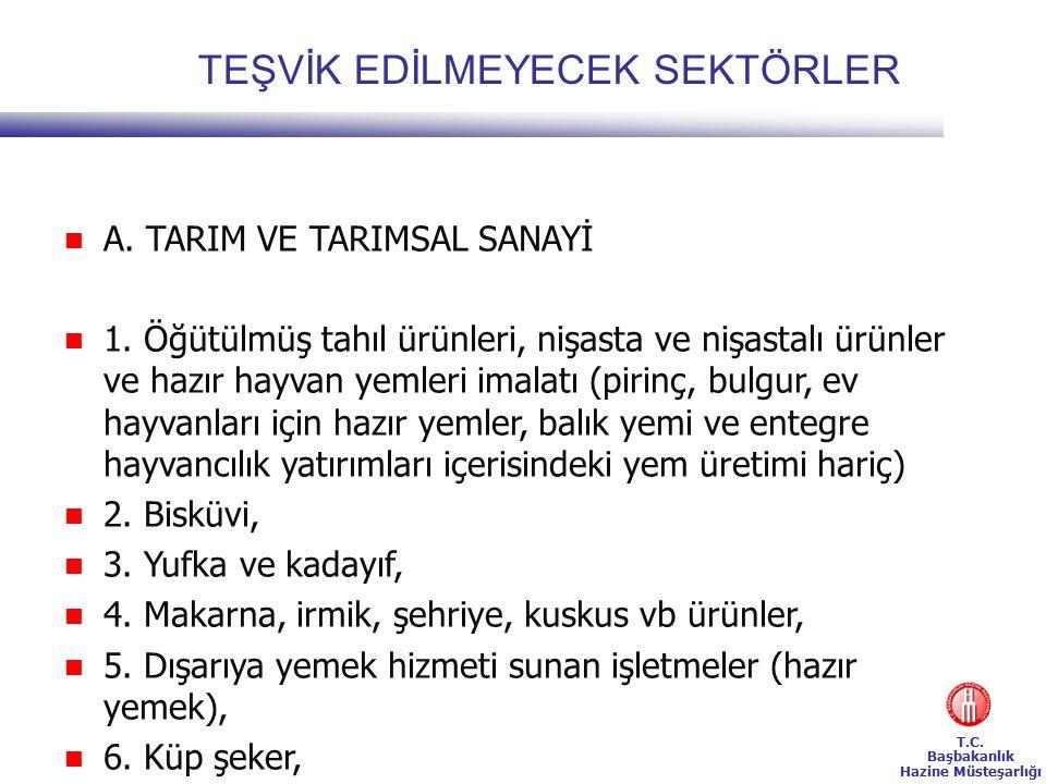 T.C. Başbakanlık Hazine Müsteşarlığı TEŞVİK EDİLMEYECEK SEKTÖRLER A.